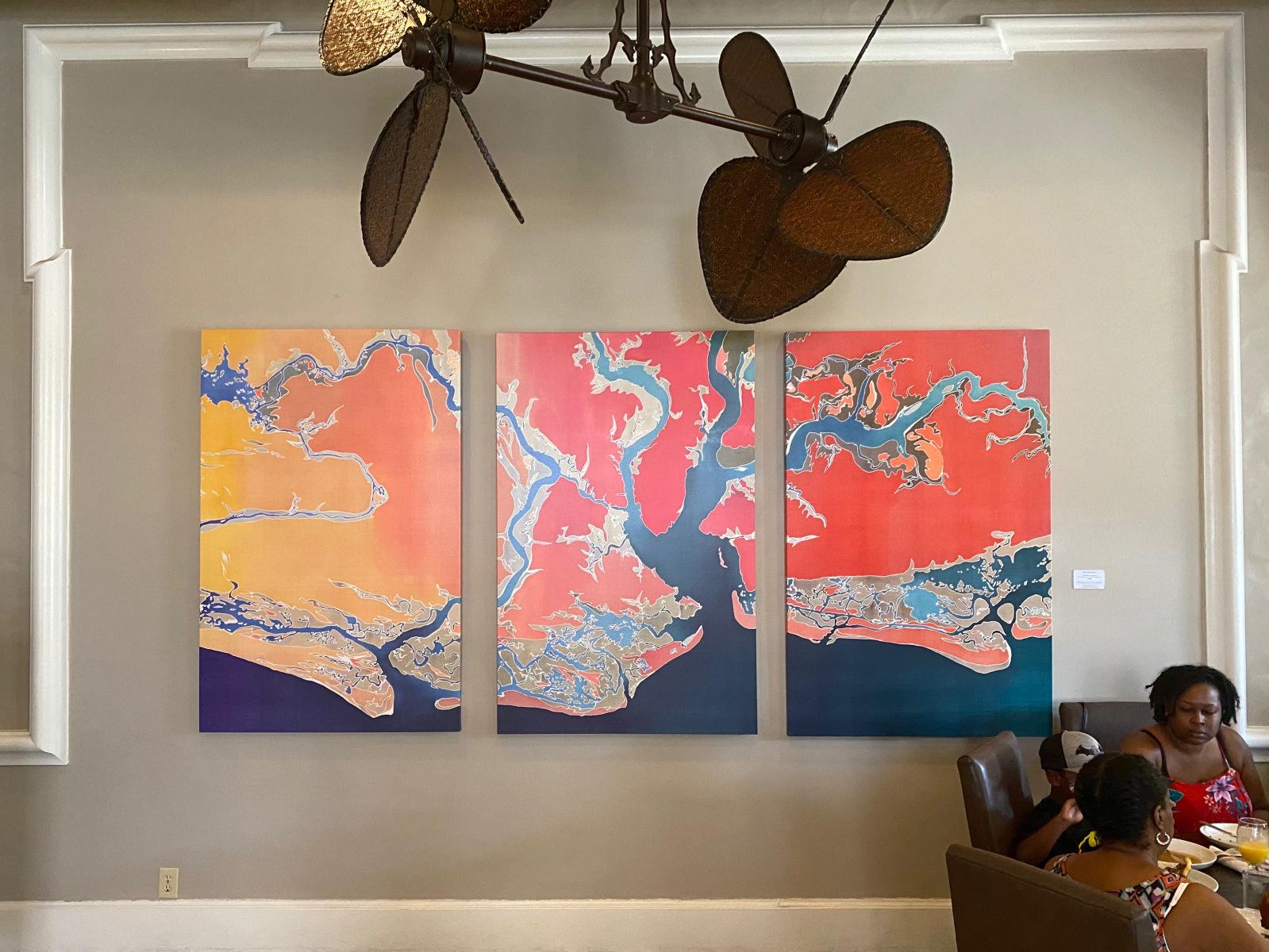 Charleston Coastline metallic canvas print