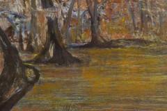 """Cypress Swamp 6"""" x 30"""" oil on panel, framed $1,075"""