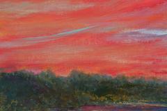 """Flaming Sky 16"""" x 12"""" oil on linen, framed"""