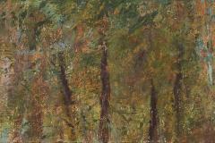 "Jungle Study I 4"" x 12"" oil on panel, framed"