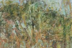 "Jungle Study II 4"" x 12"" oil on panel, framed"