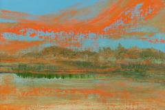 """Orange Clouds 12"""" x 16"""" oil on linen, framed"""
