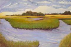 "Shem Creek Park 32"" x 83.5"" oil on canvas"