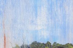 """Showers 24"""" x 8"""" oil on panel, framed"""