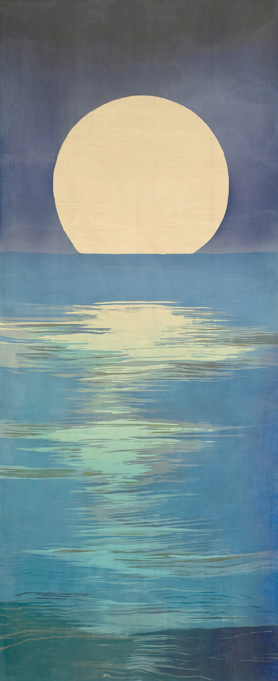 "Moonrise, 105"" x 44"", batik on silk by Mary Edna Fraser"