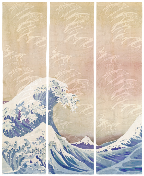 "Homage to Hokusai II, batik on silk, 53"" x 43"""