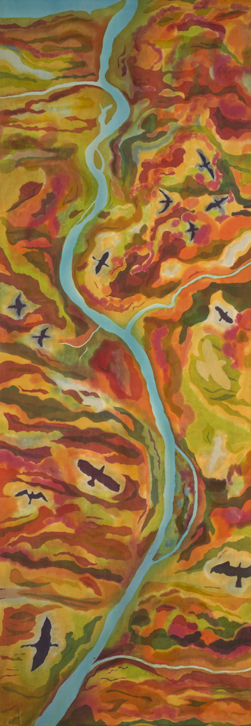 "Lower Saluda River, batik on silk, 102"" x 35"""