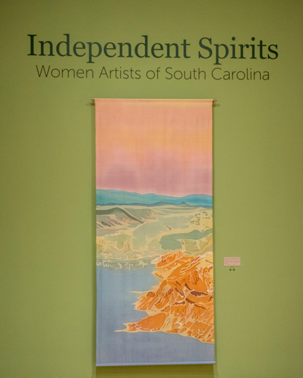 "Abiquiu, batik on silk, 95"" x 41.125"", featured in ""Independent Spirits"""
