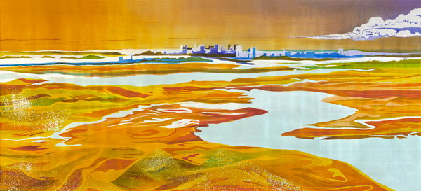 "Boston II, batik on silk, 43"" x 98"""