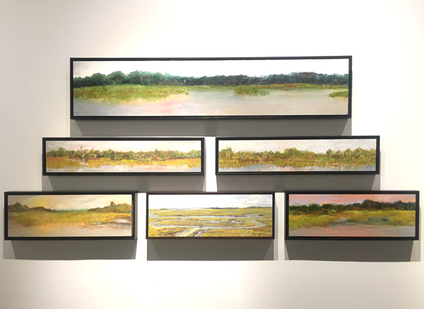 "Oils on panel at Jericho Arts (from top) My Front Yard (sold) 10.25"" x 53"", Behind Shem Creek II 6"" x 30"" (left center), Behind Shem Creek I 6"" x 30"" (right center), Ann Lee's Dock (sold) 8"" x 24"" (bottom left), From the Firetower II 8"" x 24"" (bottom center), and Fluorescent Evening 8"" x 24"" (bottom right)"