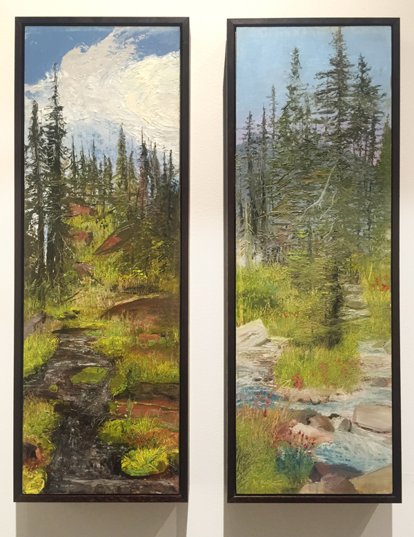 """Goat Rock"" oil on panel, 24"" x 8"" (left) and ""Sprague Creek"" (sold) oil on panel, framed, 24"" x 8"" (right) at Jericho Arts"