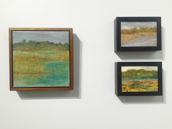 "Oils on panel at Jericho Arts  (from left) Morning Light 10"" x 10"", Rain Approaching  5"" x 7"" (top right), Little Edisto (sold) 5"" x 7"" (bottom right)"