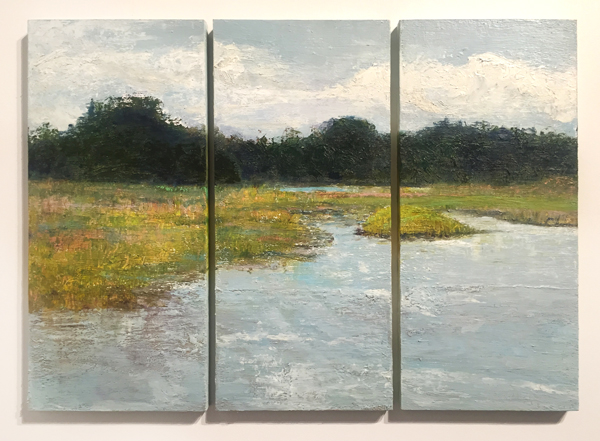 """August"" (sold) oil on panel, triptych, 22"" x 30"" at Jericho Arts"