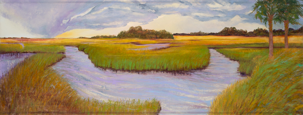 "Shem Creek Park, oil on canvas, floating, 32"" x 83.5"""
