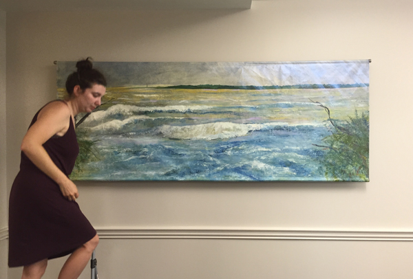 "The Power of Nature, oil on linen, 32"" x 83.5"", installation by Celie Dailey at MUSC's College of Nursing"