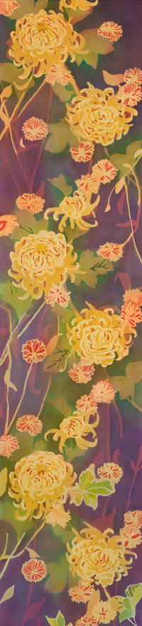 "Homage to William Morris II, batik on silk by Mary Edna Fraser, 57.5"" x 14"""