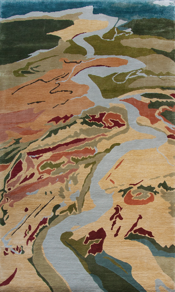 Ashley River, 3' x 5', silk rug,  Mary Edna Fraser, Atelier Lapchi, 2016
