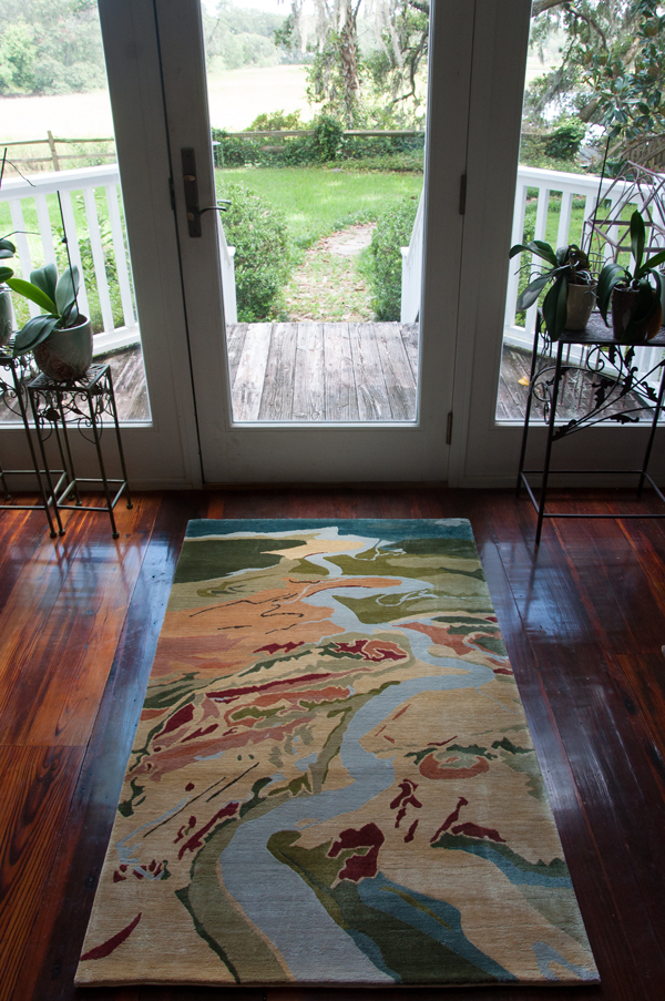 Ashley River, 3' x 5', silk rug, Mary Edna Fraser, Atelier Lapchi, made in Nepal, 2016