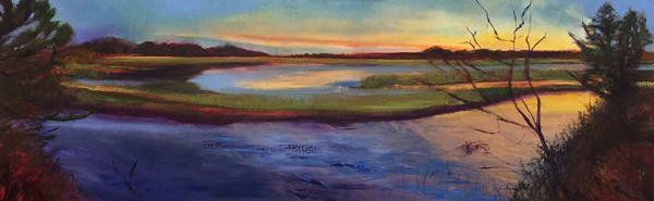 "Hobcaw Nocturne, oil on canvas, 20"" x 60"""