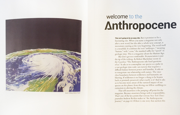 "Anthropocene Magazine, October 2016, first page spread featuring Mary Edna Fraser's batik on silk ""Hurricane Katrina"""