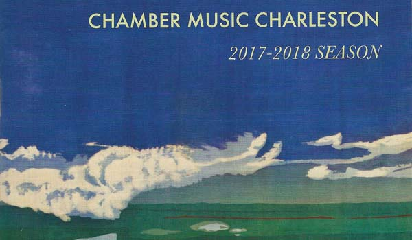 "Chamber Music Charleston 2017-2018 program, featuring Mary Edna Fraser's batik on silk ""Ashley River"""